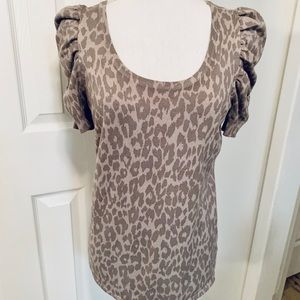 Brown Leopard Print Short Puff Sleeve Sweater Sz M